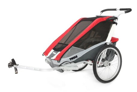 Thule Chariot Cougar 1 Rood | Inclusief Fietstrailer set