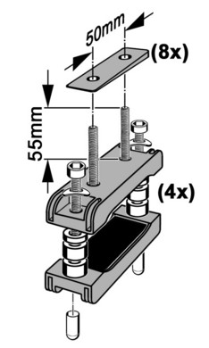 Adapterset (tbv. brede dakdragers)